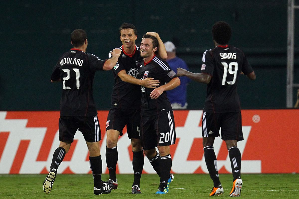 WASHINGTON, DC - AUGUST 13: Stephen King #20 of D.C. United celebrates after a goal against Vancouver Whitecaps FC at RFK Stadium on August 13, 2011 in Washington, DC. (Photo by Ned Dishman/Getty Images)