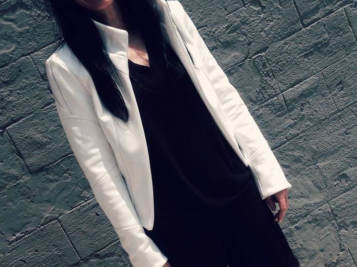"""Skip the coat and opt for a cool-girl jacket like this custom leather option by Melissa Fleis. Photo <a href=""""http://melissafleis.com/melissafleisblog/2014/8/20/white-hot"""">via</a>"""