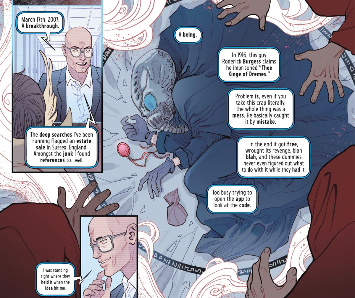 Hyperion Keter explains the discoveries that allowed him to technology his way into killing dreaming itself, in The Dreaming #16, DC Comics (2019).