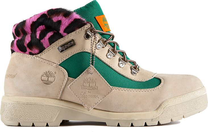 Tan Timbs with green mesh and a fuzzy pink leopard print upper.