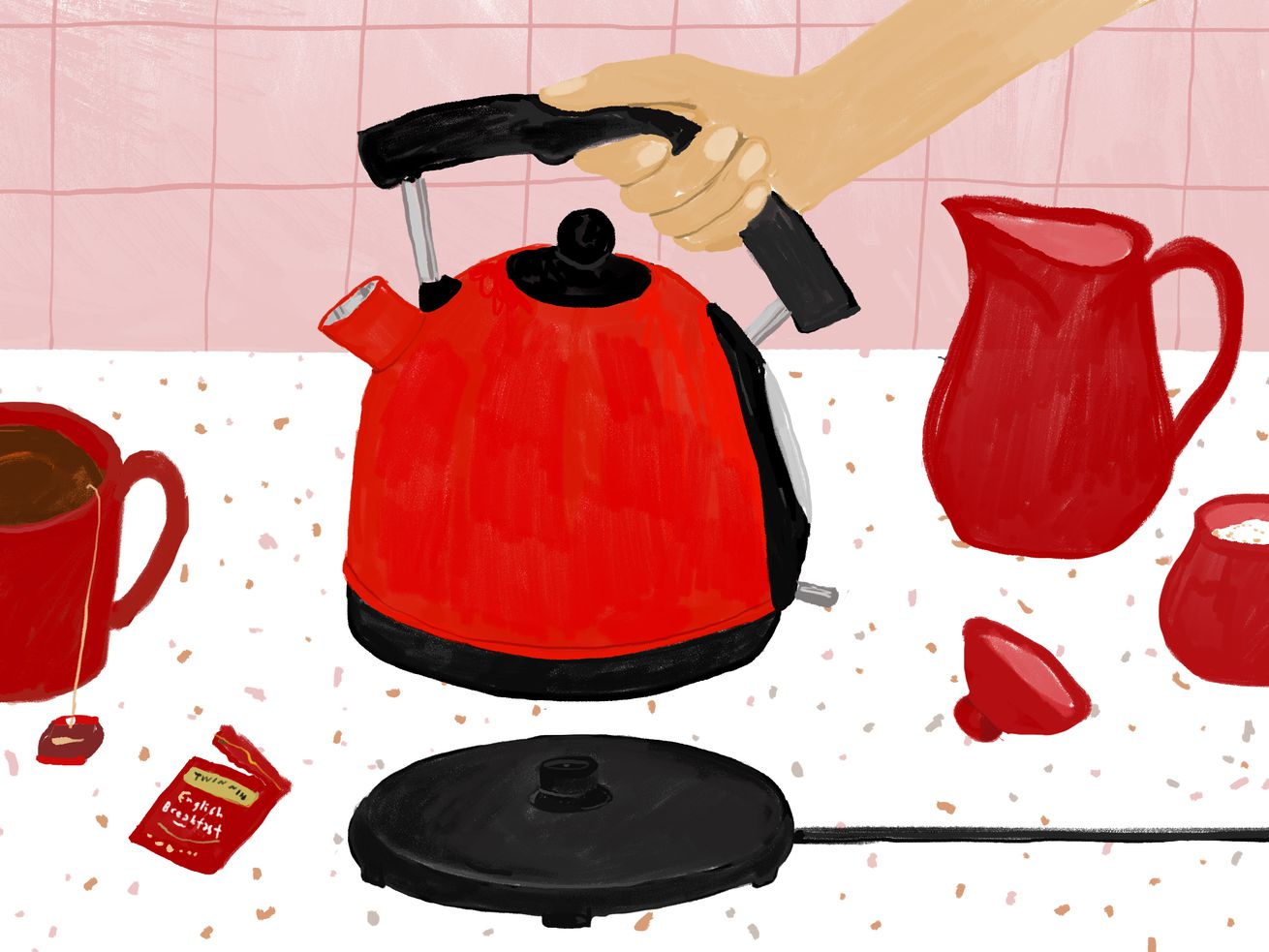 Illustration featuring red kitchen accessories on speckled white countertops, with a pink backsplash.