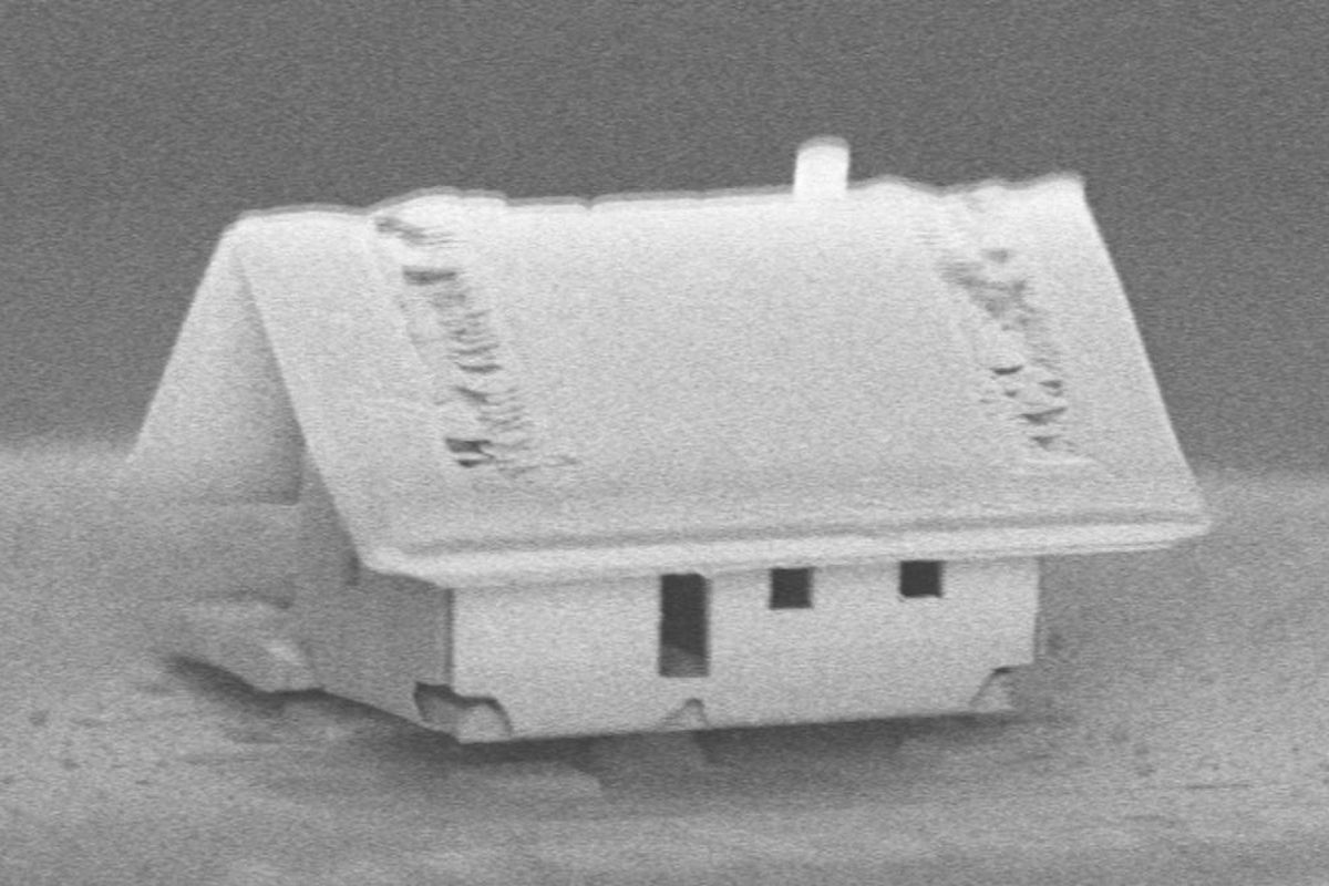 tiny house measuring 300 by 300 micrometers