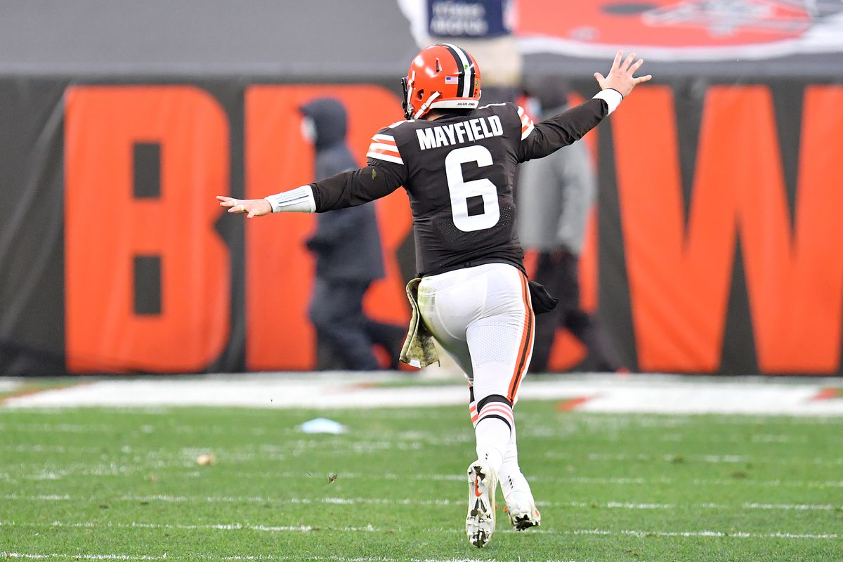 Baker Mayfield #6 of the Cleveland Browns celebrates a 59-yard run by Nick Chubb (not pictured) against the Houston Texans during the second half at FirstEnergy Stadium on November 15, 2020 in Cleveland, Ohio.