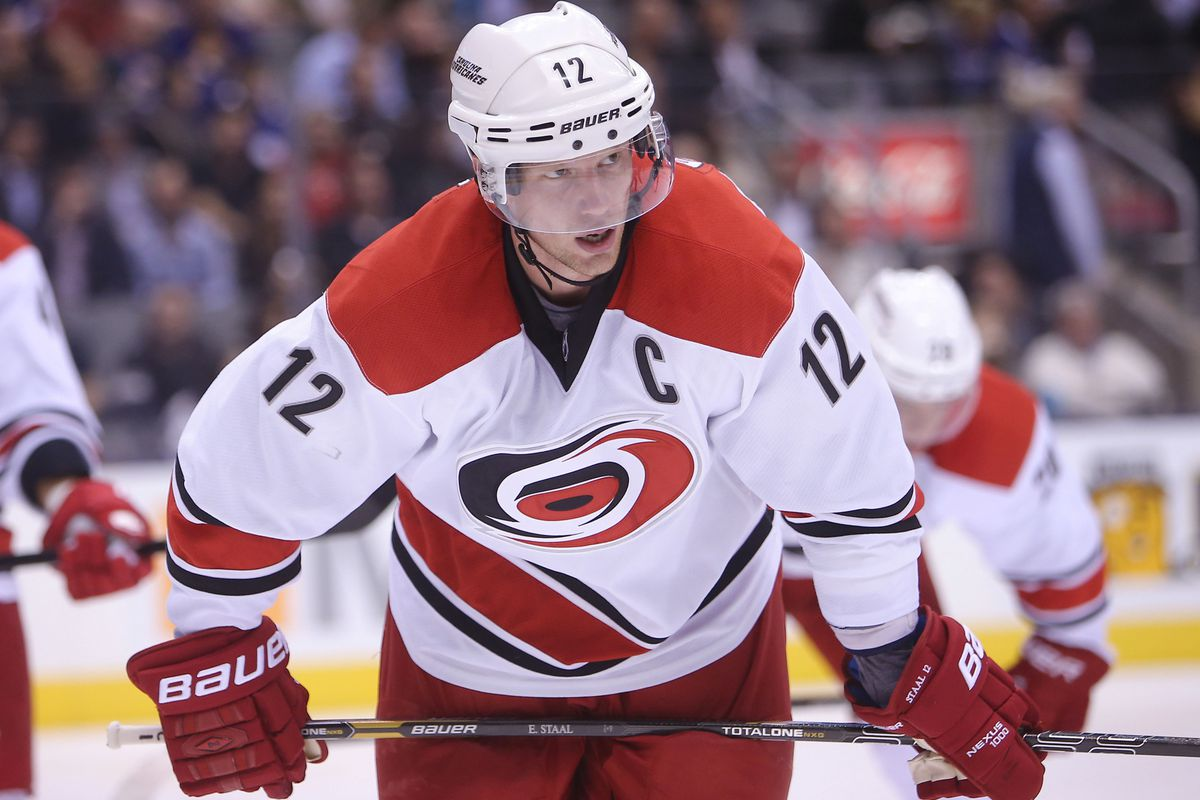 Captain Eric Staal will try to ignite his team against the Rangers tonight