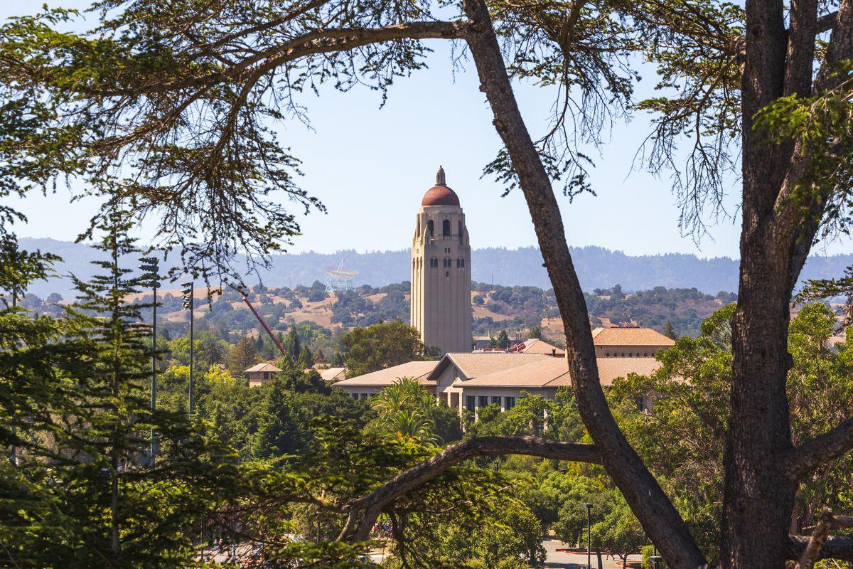 Stanford University seen through surrounding trees.