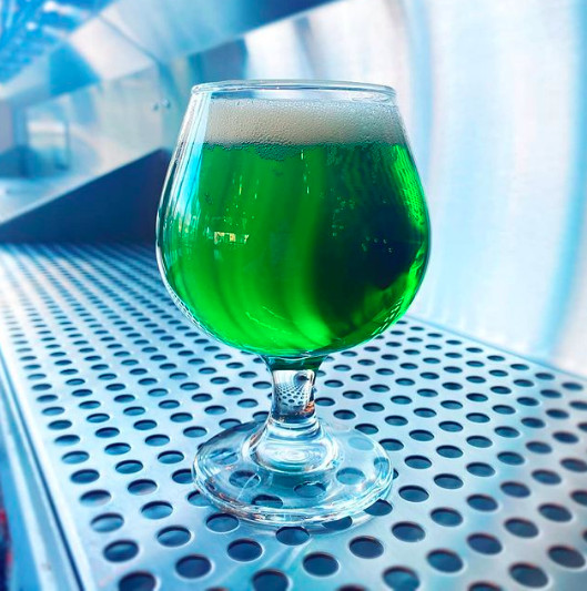 A goblet of green beer.