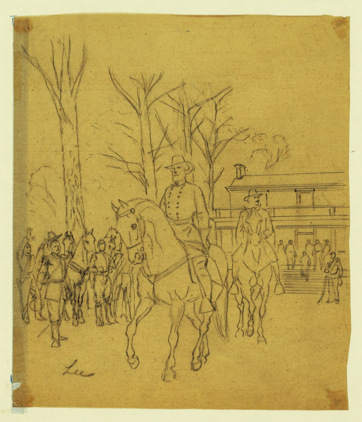 Robert E. Lee rides away from the courthouse.