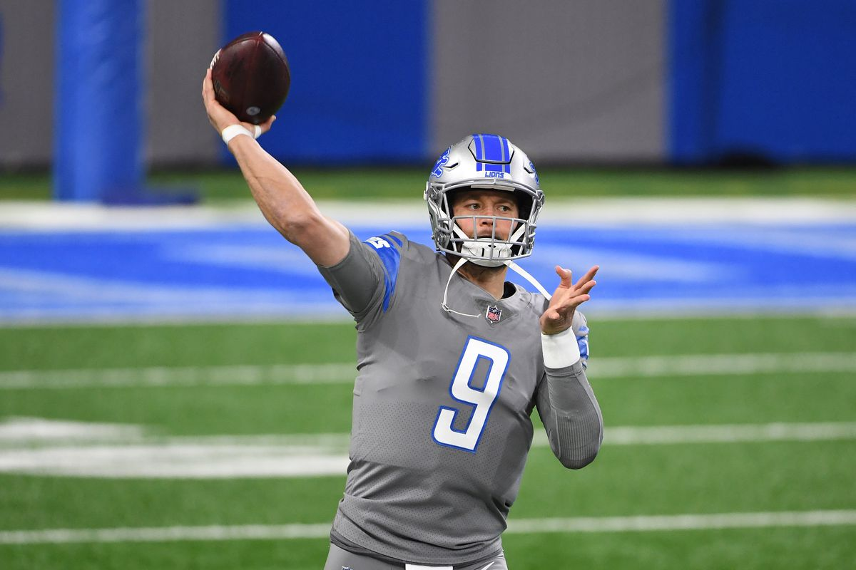 Matthew Stafford #9 of the Detroit Lions warms up prior to a game against the Tampa Bay Buccaneers at Ford Field on December 26, 2020 in Detroit, Michigan.
