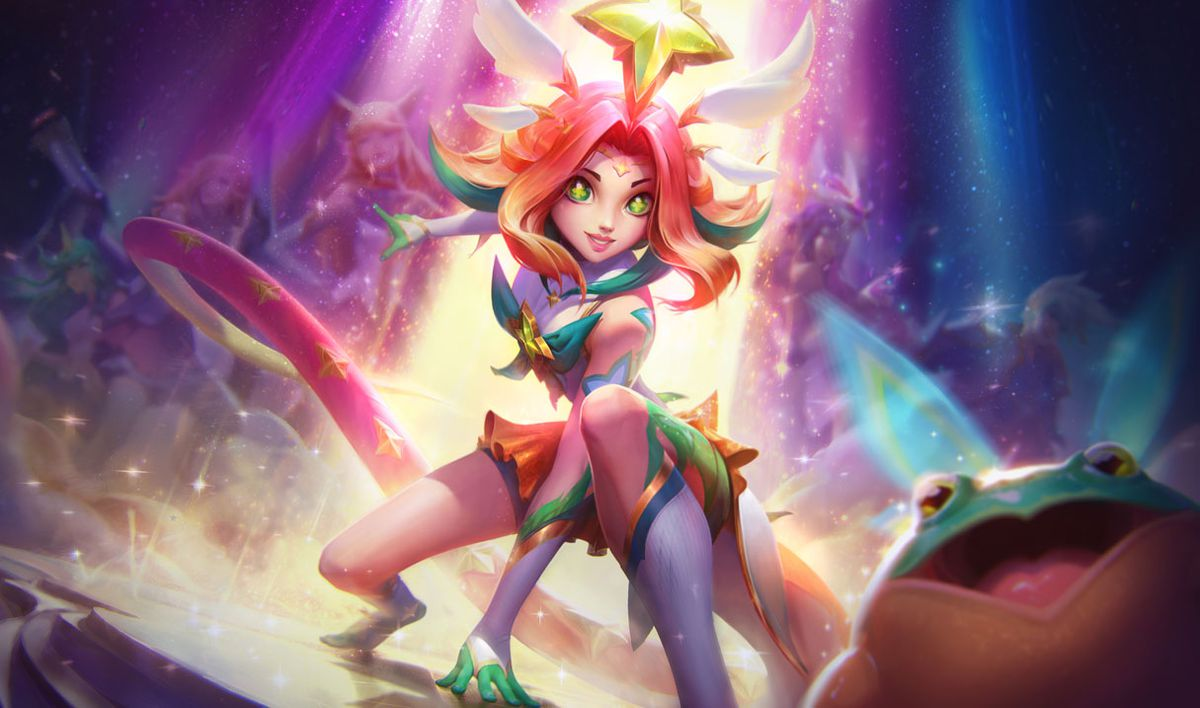 Star Guardian Neeko lands in front of the second generation of Star Guardians triumphantly