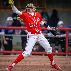 Utah relief pitcher Katie Donovan (13) throws a pitch as the University of Utah hosts Brigham Young University at Duke Stadium in Salt Lake City on Wednesday, April 18, 2018.