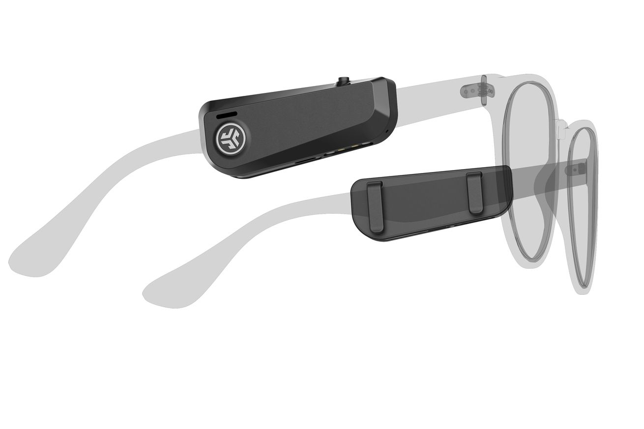 The JLab JBuds Frames are open-ear headphones you clip to your glasses