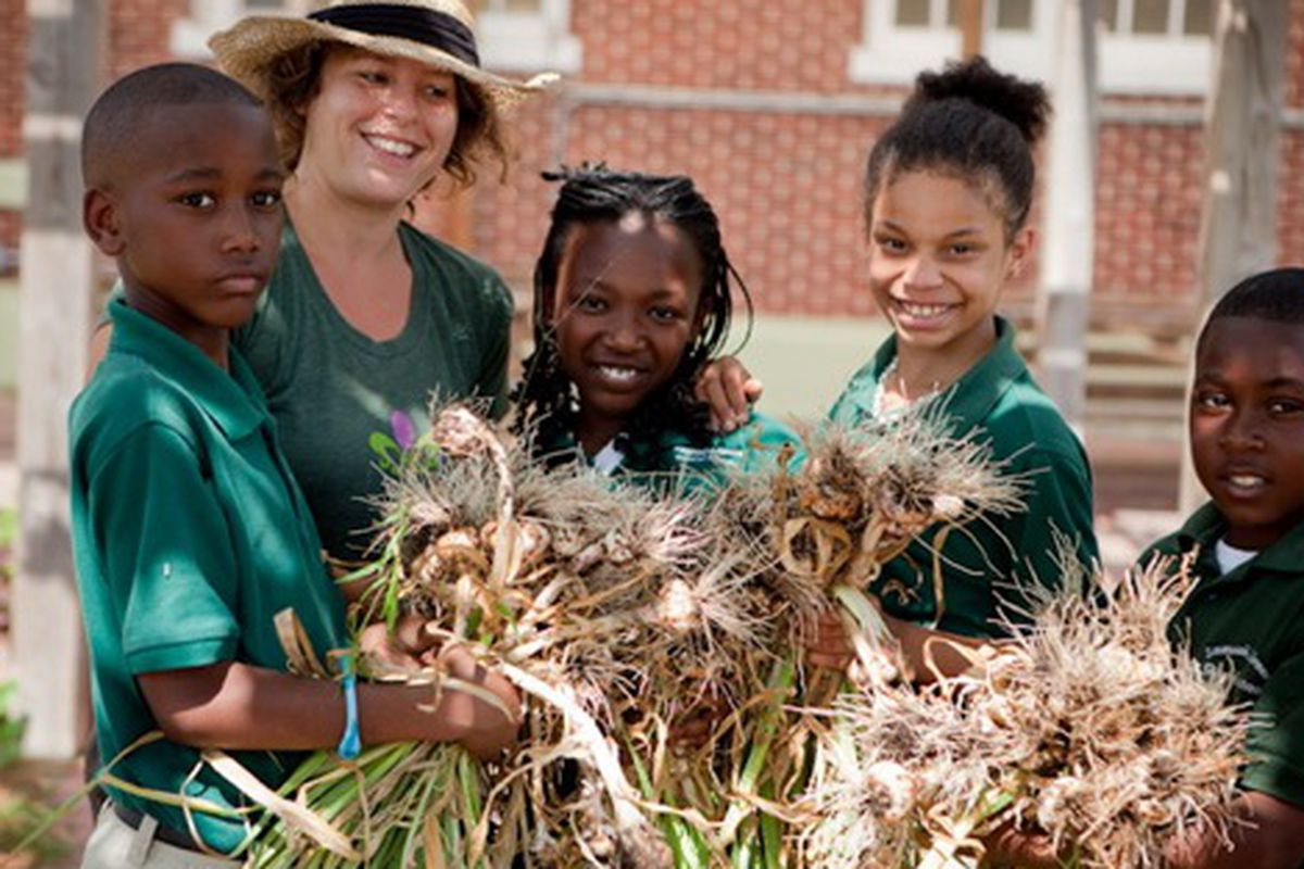 Students at the Edible Schoolyard in Uptown New Orleans.