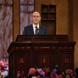 President Henry B. Eyring, second counselor in the First Presidency, speaks during the Saturday morning session of The Church of Jesus Christ of Latter-day Saints' 191st Annual General Conference in Salt Lake City on April 3, 2021.