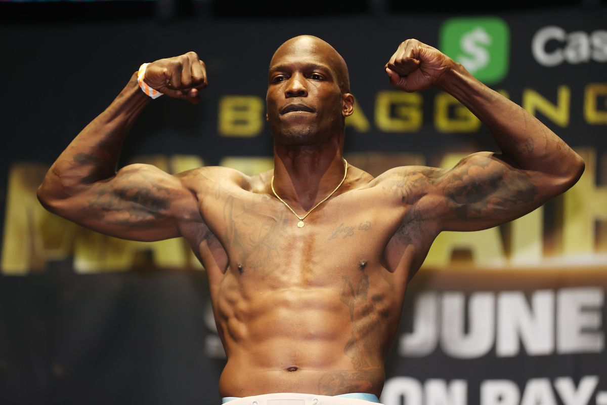 Former NFL player Chad Johnson takes part in the weigh-in ahead of his June 6 exhibition boxing match against Brian Maxwell on June 5, 2021 at Hard Rock Live at Seminole Hard Rock Casino in Miami Gardens, Florida.