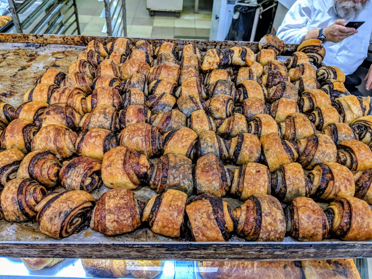 A tray of fresh rugelach at Carmelli Bakery, a Jewish bakery in Golders Green, London