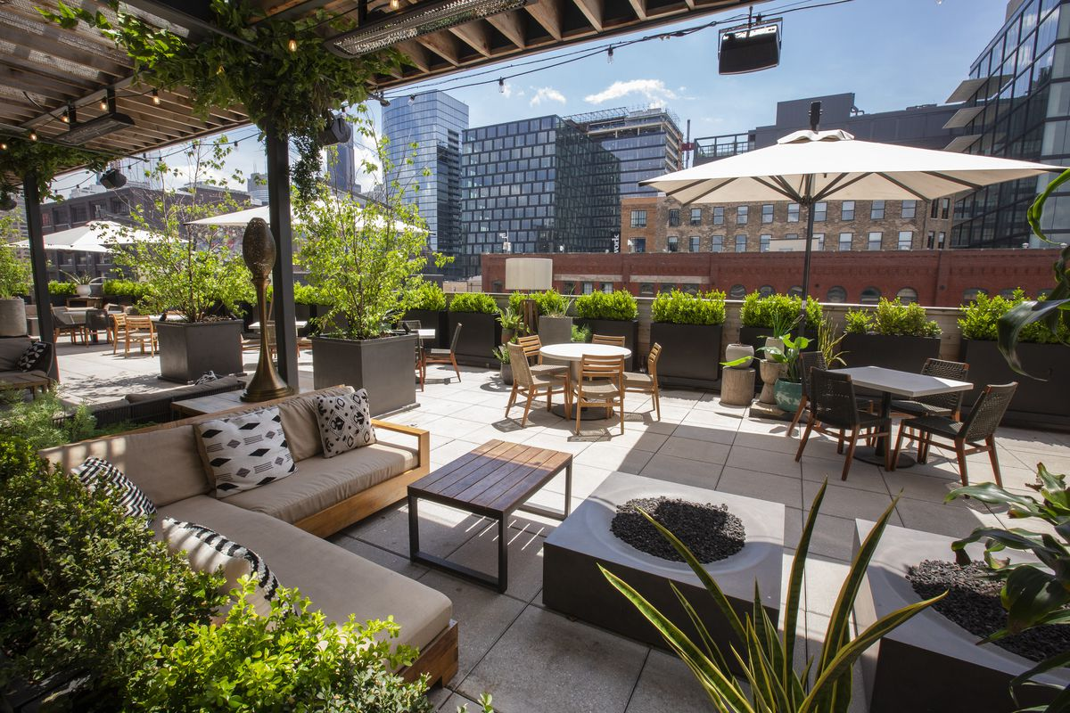 A large rooftop patio with a wooden trellis and lots of green plants