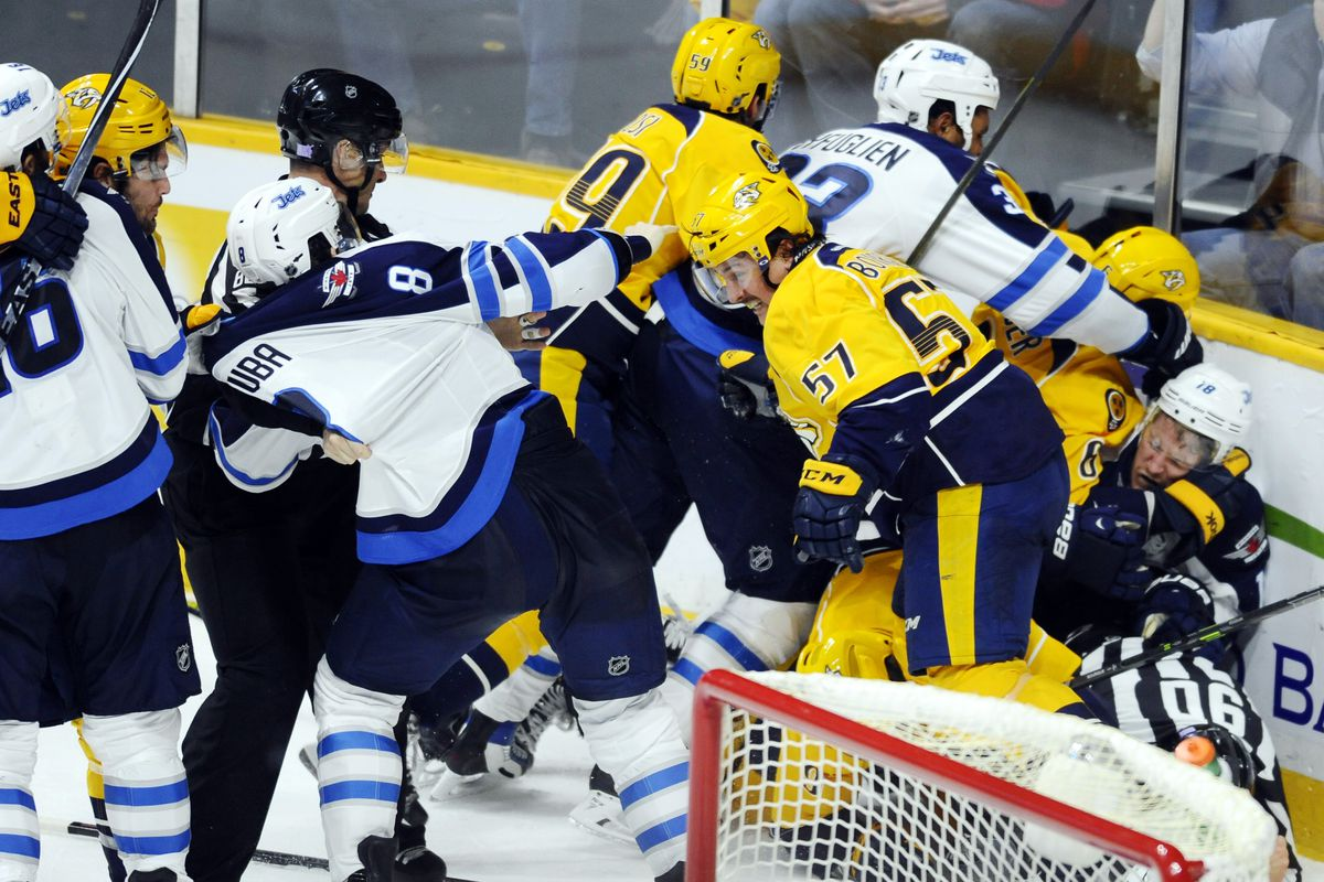 Predacious jets go full on dumpster fire lose 7 0 arctic ice hockey christopher hanewinckel usa today sports geenschuldenfo Image collections