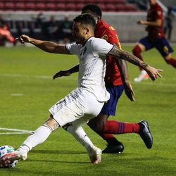 Colorado Rapids forward Andre Shinyashiki (99) makes a shot against Real Salt Lake defense during an MLS soccer game at Rio Tinto Stadium in Sandy on Saturday, Sept. 12, 2020.