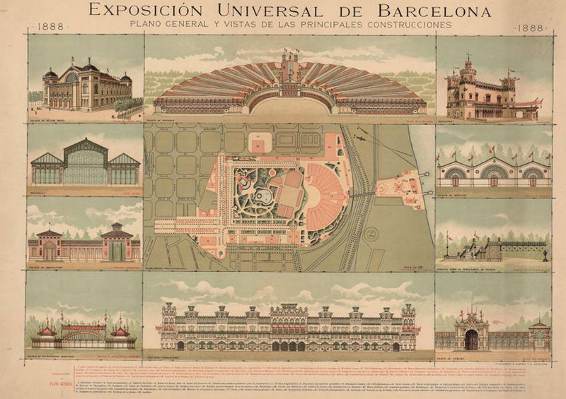 Buildings erected for the Universal Exhibition of Barcelona in 1888.