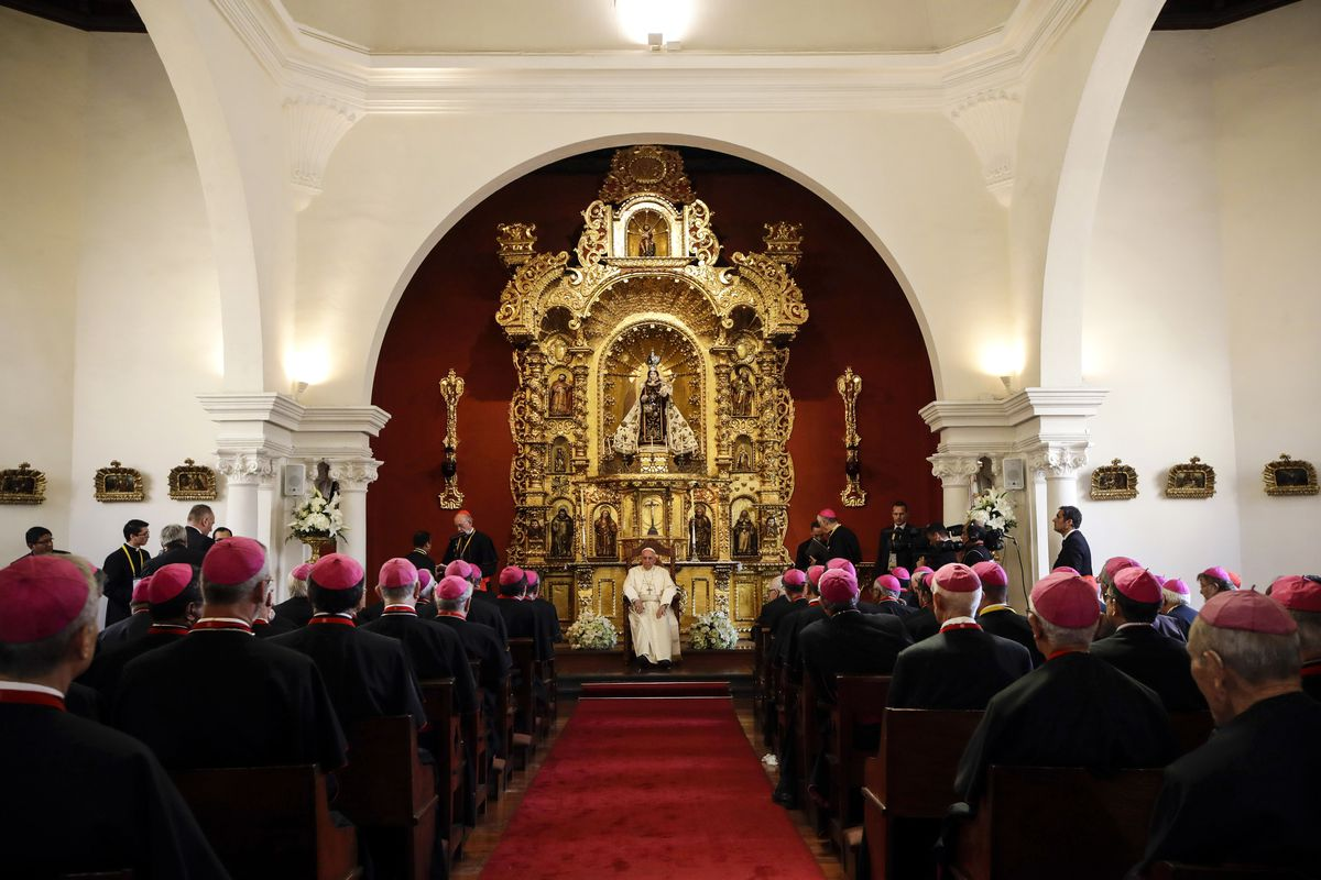 January 21: Pope Francis meets with bishops at the Archiepiscopal Palace in Lima, Peru. Over one million faithfuls attending his final mass during a six-day visit to Latin America. Read More. (Alessandra Tarantino/AFP/Getty Images)