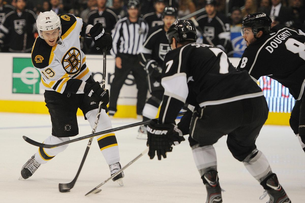 Mar 24, 2012; Los Angeles, CA, USA; Boston Bruins center Tyler Seguin (19) attempts a shot against the Los Angeles Kings during the first period at the Staples Center. Mandatory Credit: Kelvin Kuo-US PRESSWIRE