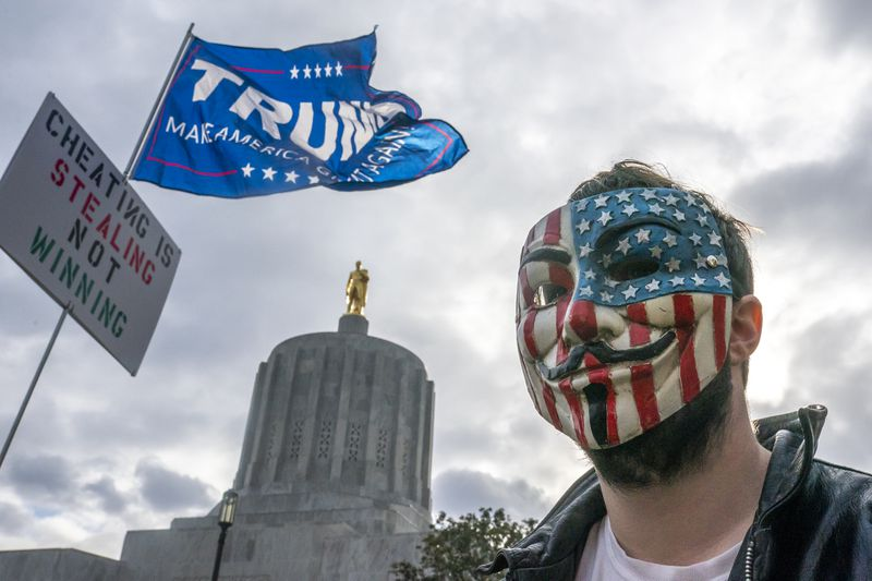 """Pro-Trump """"Stop The Steal"""" Rally Held At Oregon State Capitol"""