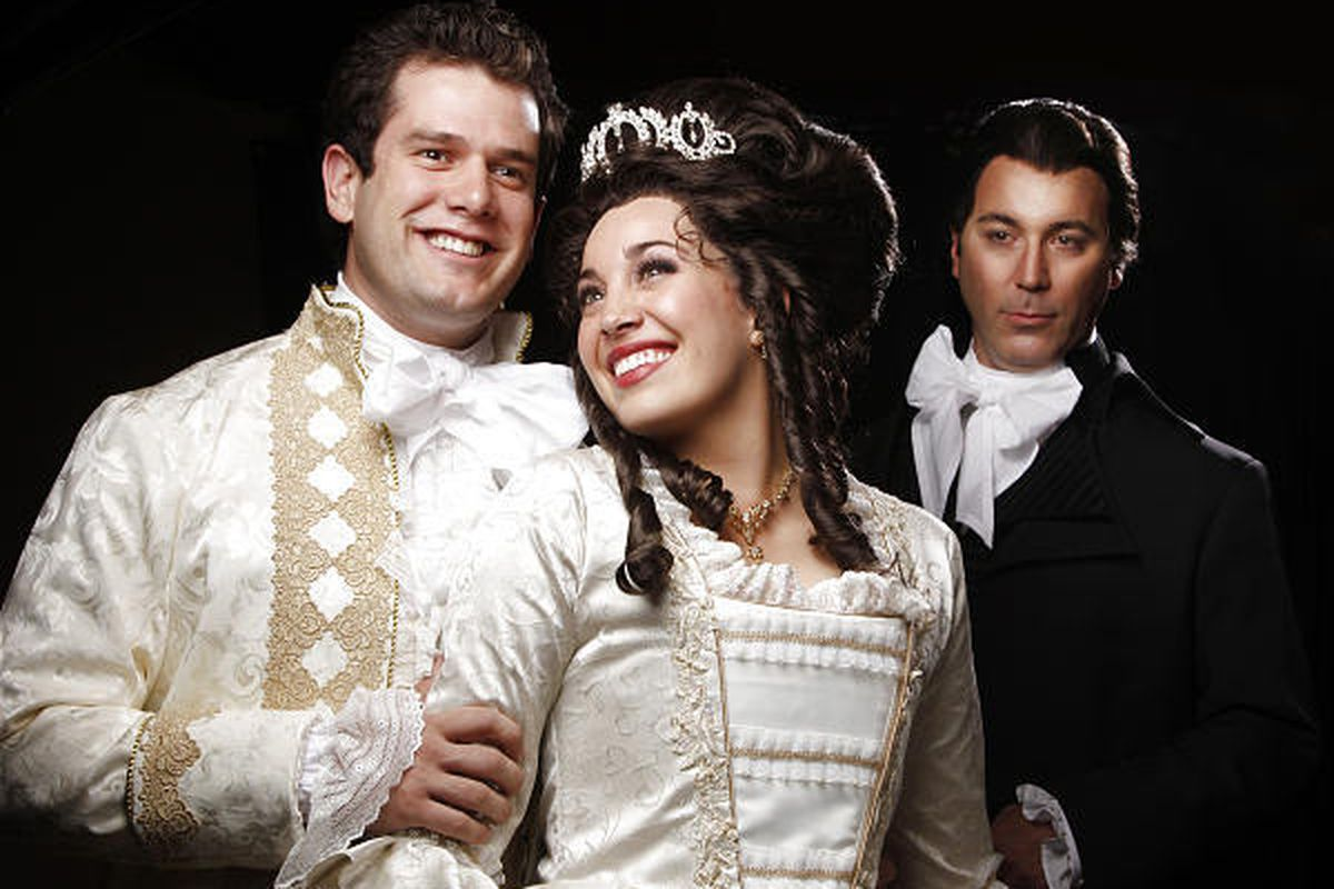 """Kevin Goertzen as Percy, left, Megan Heaps as Marguerite and Brian Clark as Chauvelin in Hale Centre Theatre's audience-favorite production of """"The Scarlet Pimpernel."""""""