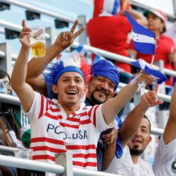 June 18, 2019 - Saint Paul, Minnesota, United States - Fans cheer on in the stands during the Panama vs Trinidad and Tobago match at Allianz Field.
