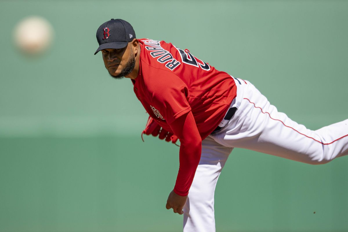 Eduardo Rodriguez #57 of the Boston Red Sox delivers during the second inning of a Grapefruit League game against the Tampa Bay Rays on March 5, 2021 at jetBlue Park at Fenway South in Fort Myers, Florida.