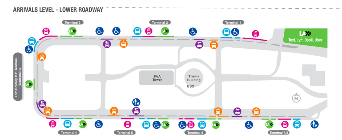 A map of LAX airport's arrivals deck showing the location of various shuttles and pick up areas.