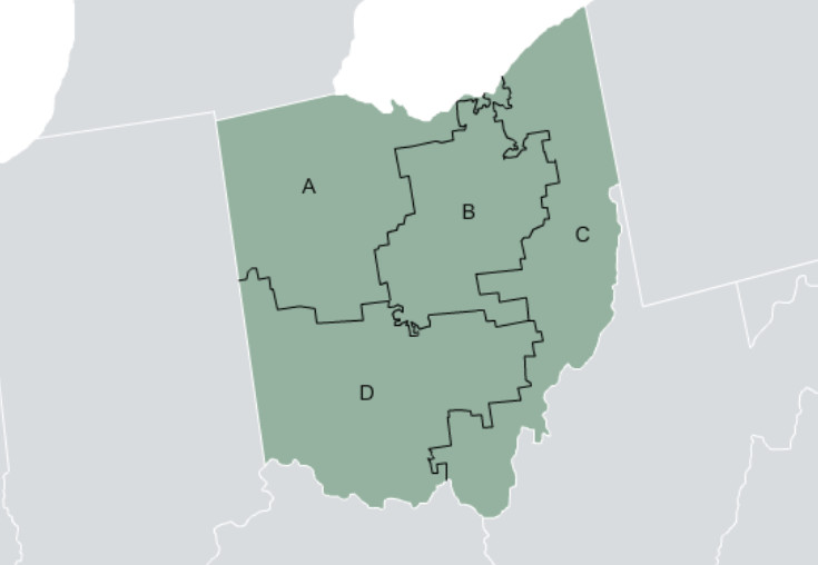 Map showing how under the FairVote system, Ohio would have four House districts, with three to five seats each. A candidate could win a seat with as little as 17.5 percent of the vote.