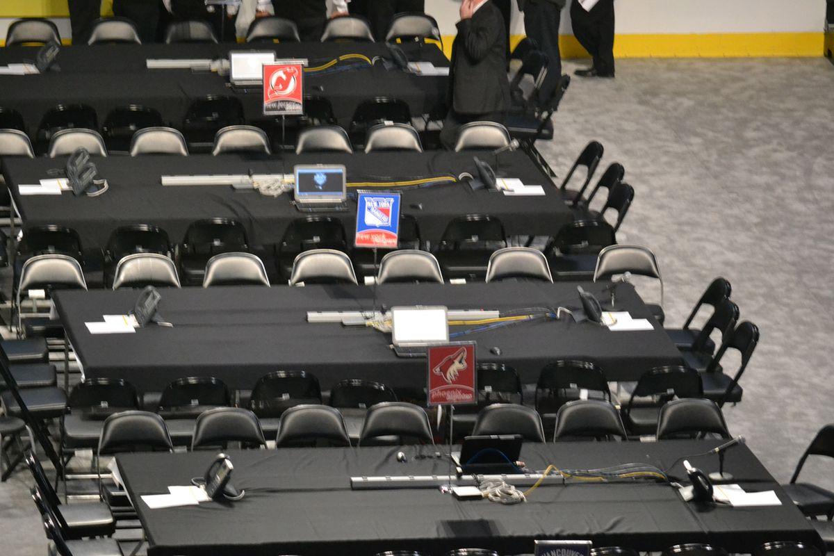 Phoenix's draft table in Pittsburgh. Photo Courtesy of Matt Wagner (SB Nation).