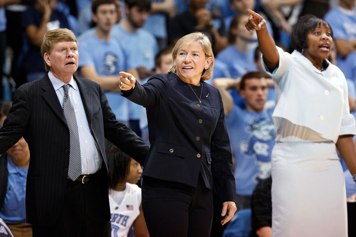 Former North Carolina assistant Trisha Stafford-Odom (right) is looking to guide a new team this fall.