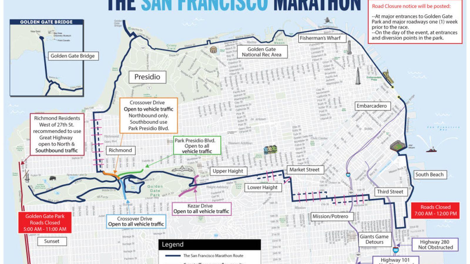San Francisco Marathon Street Closures And Muni Disruptions - I drive us closure map