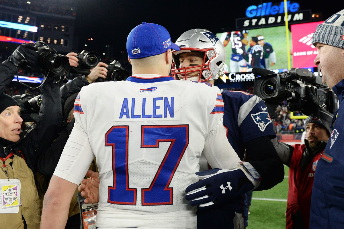 Josh Allen of the Buffalo Bills shakes hands with Tom Brady of the New England Patriots after the Patriots defeated the Bills 24-17 in the game at Gillette Stadium on December 21, 2019 in Foxborough, Massachusetts.