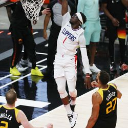 LA Clippers guard Reggie Jackson (1) dunks on the Jazz during the NBA playoffs in Salt Lake City on Thursday, June 10, 2021. The Jazz won 117-111.