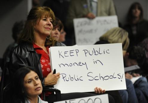 Douglas County parents protest the district's voucher program in 2010 (Denver Post photo)