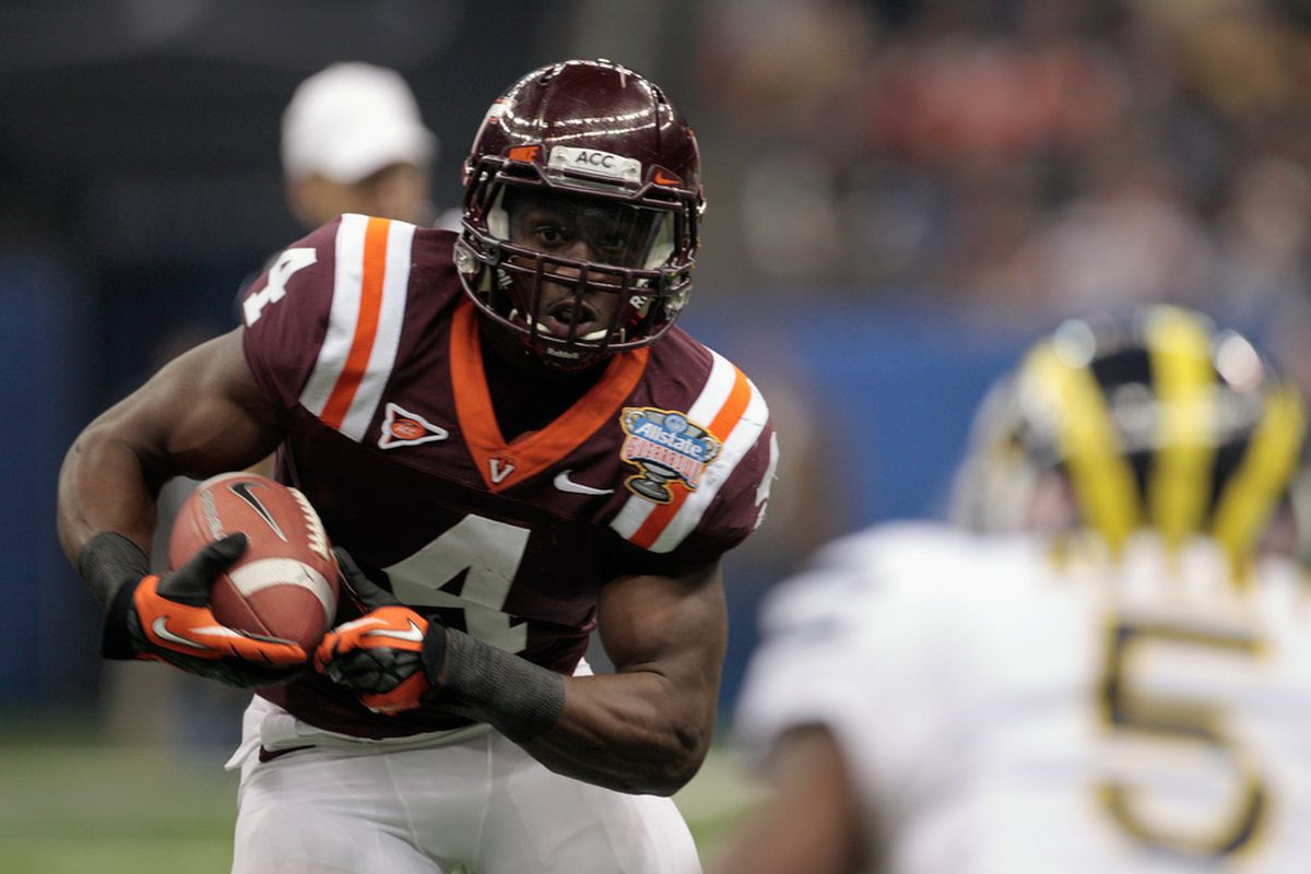 David Wilson of Virginia Tech was selected in the first round of the 2012 NFL Draft by the New York Giants on Thursday.  (Photo by Chris Graythen/Getty Images)