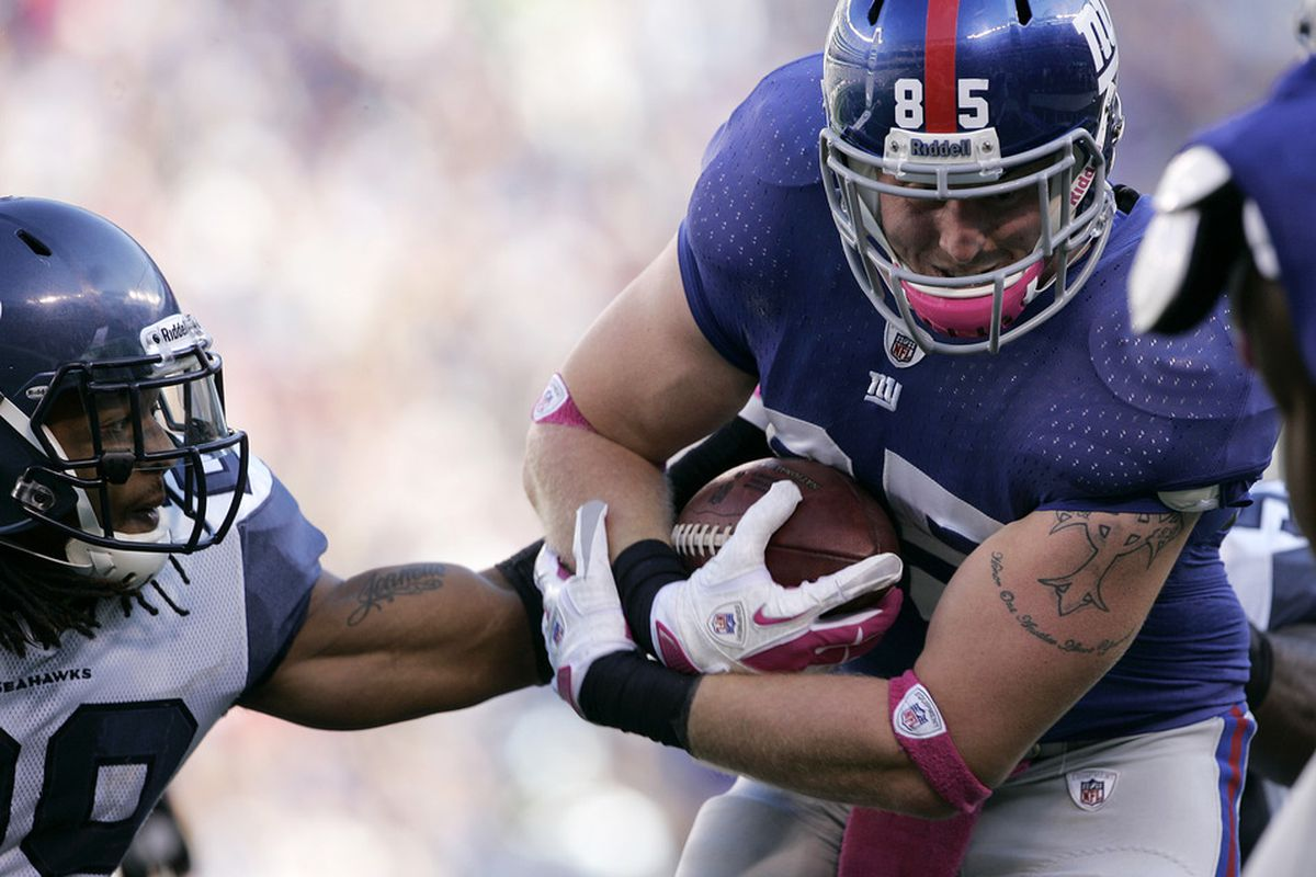 New York Giants tight end Jake Ballard.  That's one big dude to be out catching passes.