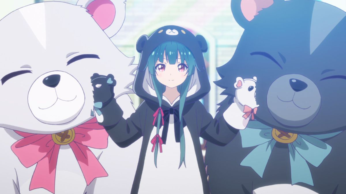 Yuna in a bear-themed pajama suit patting two giant bears while wearing bear hand puppets