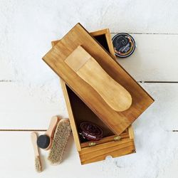 """<span class=""""credit""""><b>West Elm Market</b> Shoe Shine Box (still available in store), <a href=""""http://www.westelm.com/products/mrk-shoe-shine-box-d1723/"""">$49</a></span><p>"""