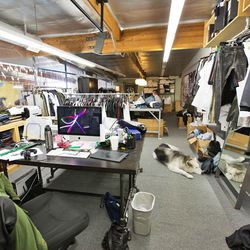 The Kill City design room has loads of spring samples and aquariums of pet snakes.