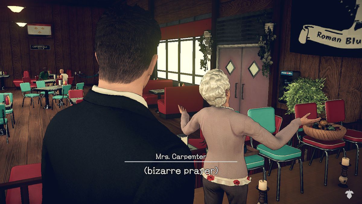 Mrs. Carpenter utters a bizarre bowling prayer in Deadly Premonition 2: A Blessing in Disguise