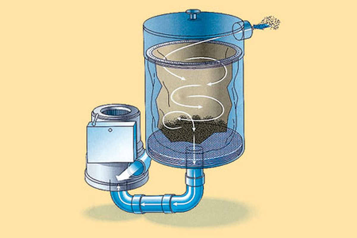 Whole house vacuum system filter diagram.