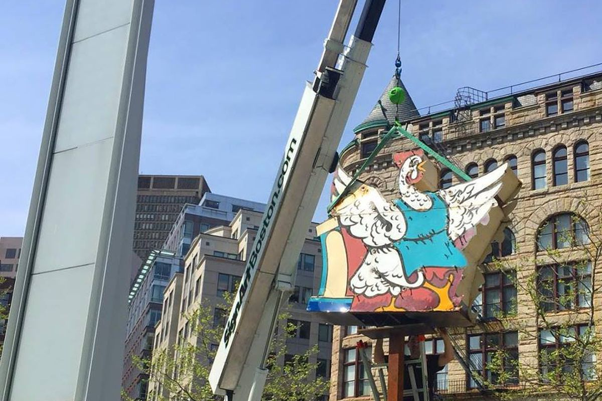 Fontaine's chicken signage being installed on the Greenway for summer 2018