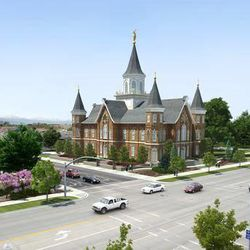 An earlier artist's rendering of the Provo City Center Temple shows University Avenue in the foreground and 100 South to the left side of the temple. That part of 100 South is now closed. A parking garage will extend under that area, which will be green space, as in the newer rendering.