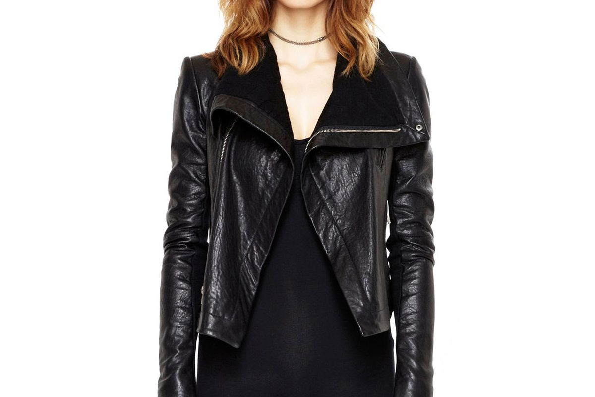 The Veda Max Classic leather jacket in black