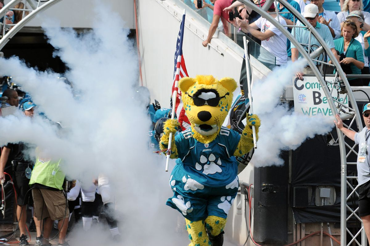 JACKSONVILLE, FL - JANUARY 01:  The mascot of the Jacksonville Jaguars leads the team to the field before play against the Indianapolis Colts January 1, 2012 at EverBank Field in Jacksonville, Florida.  (Photo by Al Messerschmidt/Getty Images)
