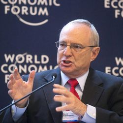 US David Saperstein,  director of the Union for Reform Judaism's Religious Action Center gestures as he speaks during a debate on religion at the 43rd Annual Meeting of the World Economic Forum, WEF, in Davos, Switzerland, Friday, Jan. 25, 2013. Who created Davos, and why does it exist?  Questions about God and religion came up often at the World Economic Forum this year providing a break from the temporal concerns that tend to dominate Davos and showing that even the jet set is preoccupied with the meaning of life, at least in these turbulent times.(AP Photo/Michel Euler)