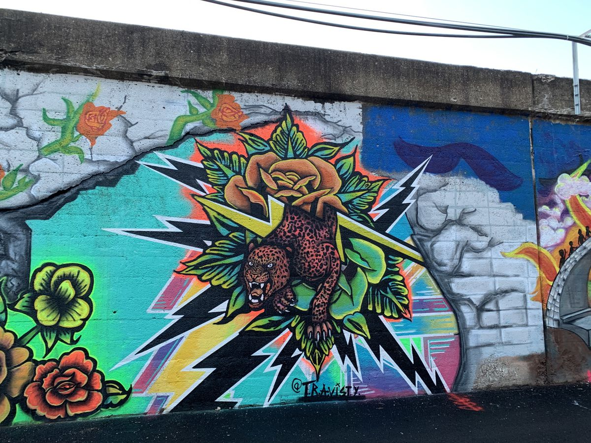"""A cheetah leaps out to pounce in a mural by Travis Talsma titled """"Luck Favors the Bold."""""""